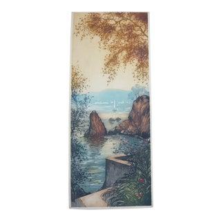 Vintage French Lake Scene For Sale