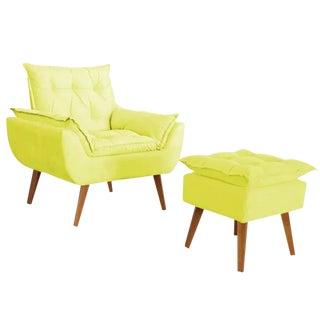 Modern Melissa Yellow Armchair & Ottoman Set For Sale