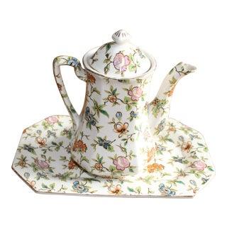 Moriyama Hand Painted Tea Pot With Plate For Sale