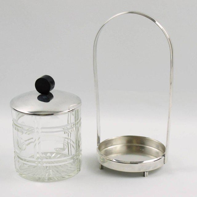 French Art Deco Silver Plate Preserve or Pickles Jar with Etched Crystal Insert - Image 4 of 8