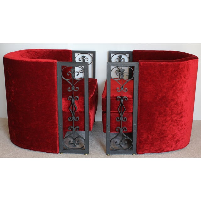 Wrought Iron and Red Velvet Club Chairs - Pair - Image 3 of 9