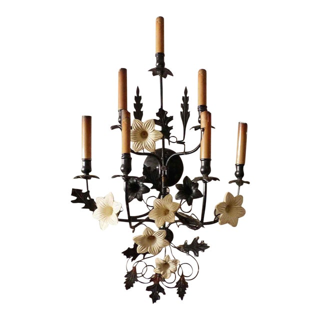 1930s Italian Black Painted Metal With Floral Tole Sconce For Sale