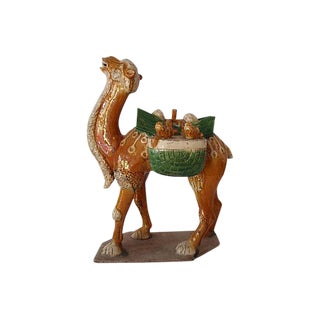 Chinese Antique Tang Style Glazed Pottery Camel For Sale