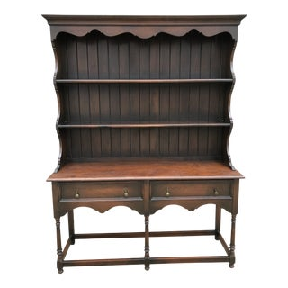Mid 20th Century Vintage Two-Piece Display Hutch For Sale