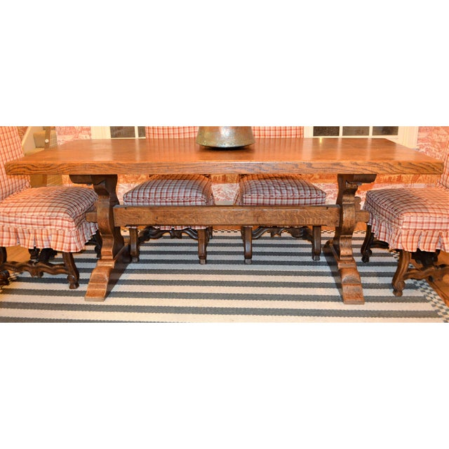 Wood French Country Trestle Farm Table For Sale - Image 7 of 10