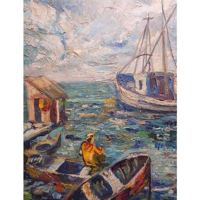 David Davidovich Burliuk (Russian, 1882-1967) Fishing Scene-Oil Painting For Sale In Los Angeles - Image 6 of 10