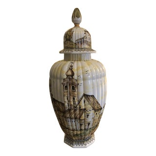 Mid-20th Century Italian Dal Par' 24 Inch Hand Painted Vase For Sale