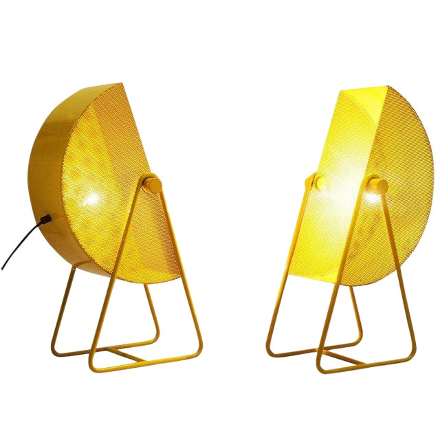 Bieffeplast Yellow Table Lamps With Adjustable Shades, 1970s For Sale