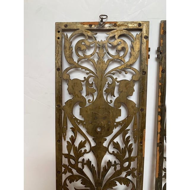 Vintage Pierced and Etched Brass Panels -A Pair For Sale - Image 11 of 13