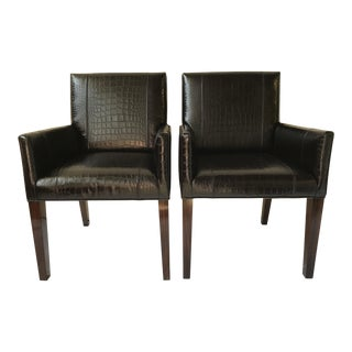 Ralph Lauren Home Modern Metropolis Leather Armchairs - a Pair