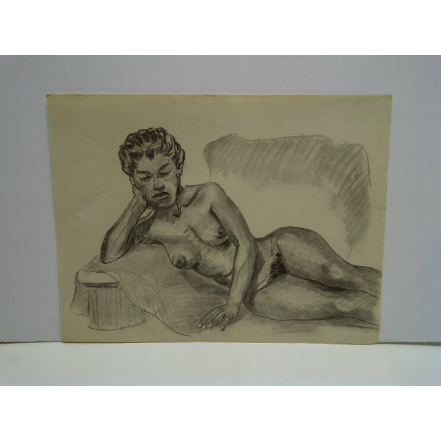 "1950s 1956 Mid-Century Modern Original Drawing on Paper, ""Laying Sideways Nude"" by Tom Sturges Jr. For Sale - Image 5 of 5"