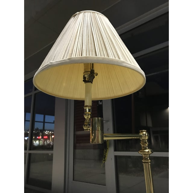 Mid 20th Century Vintage Brass Swing-Arm Lamp With Original Paper Shade by Remington For Sale - Image 5 of 13