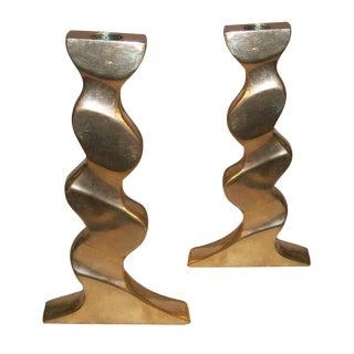 Sculptural Polished Bronze Candlesticks - A Pair For Sale