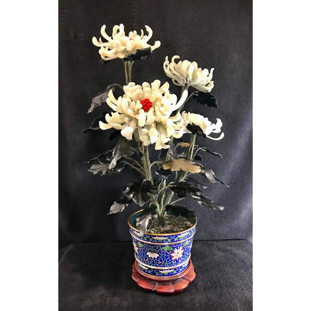 """Vintage Chinese Chrysanthemum Jade Tree With Cloisonné Pot and Stand - 24"""" Tall For Sale - Image 12 of 12"""