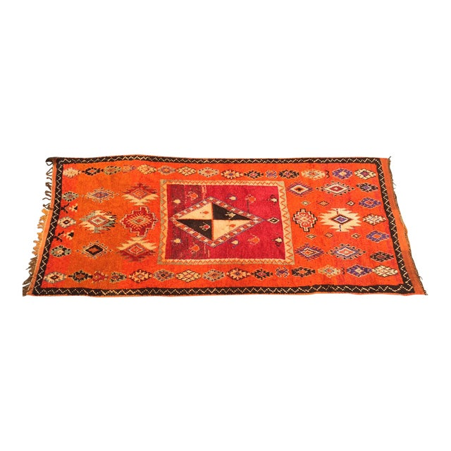 """A Very Old Fine and Rare Vintage Orange Moroccan Azilal Rug - 4'2"""" X 10' - Image 1 of 5"""