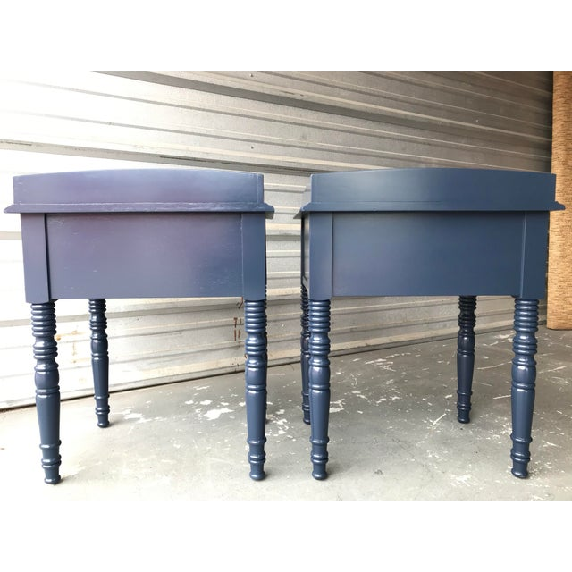 Drexel C F Kent Furniture High Gloss Blue Nightstands / End Tables - a Pair For Sale - Image 4 of 11