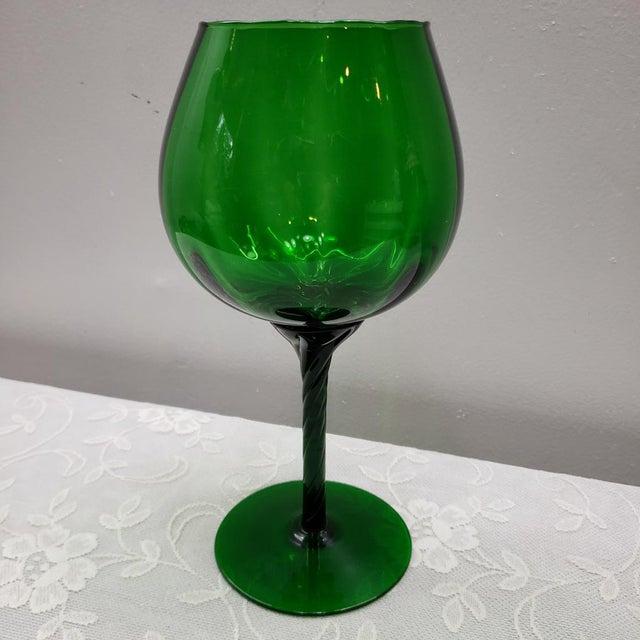 "Mid Century Italian Emerald Green Art Glass Vase Vintage Murano 12"" For Sale - Image 4 of 11"