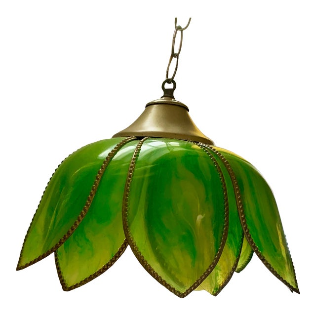 Boho Lotus Flower Swag Lamp Vintage 1960s For Sale