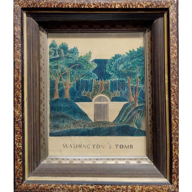 Early 19th century painting of George Washington's Tomb watercolor drawing on paper -circa 1820s - Folk Art framed and...