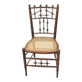 Aesthetic Movement Faux Bamboo and Cane Chair in the Style of R J Horner