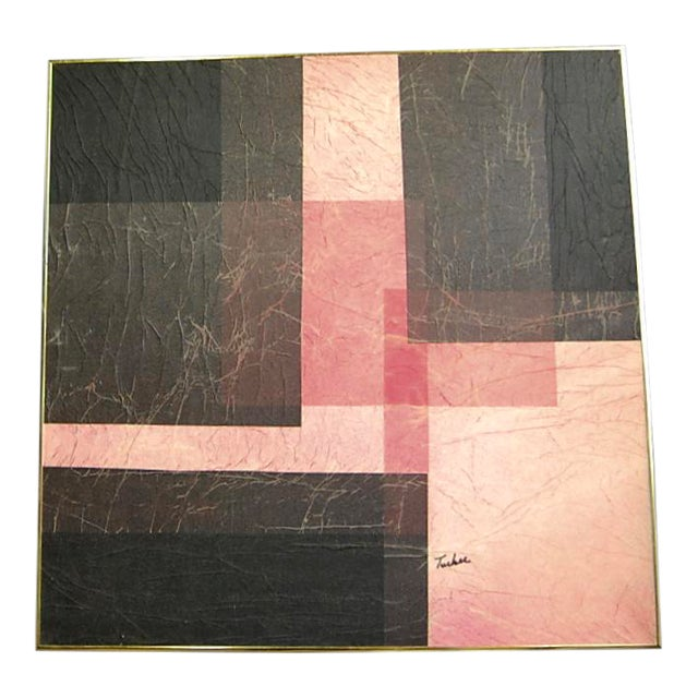 Modernist Pink & Black Mixed Media Painting - Image 1 of 8