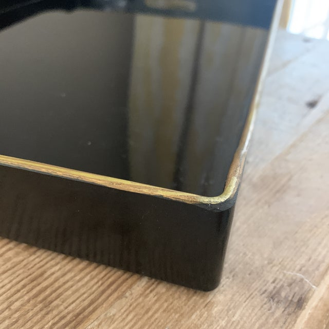 1990s Donghia Black and Gold Accented Lacquered Tray For Sale - Image 5 of 9