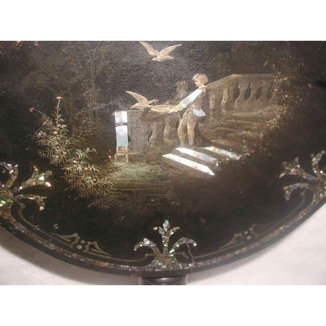 French Napoleon III Papier Mache Tilt Table Inlaid C.1850 For Sale - Image 10 of 10