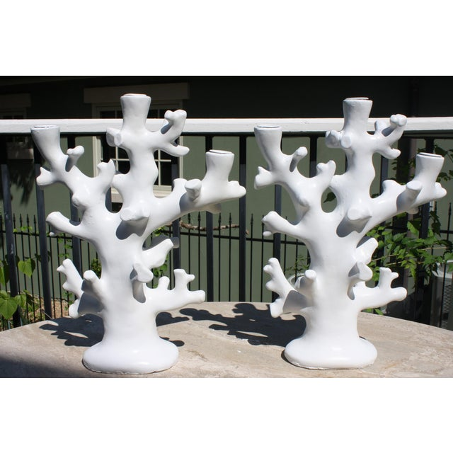 Vintage Palm Beach Style Coral Taper Candle Holders - a Pair For Sale - Image 13 of 13