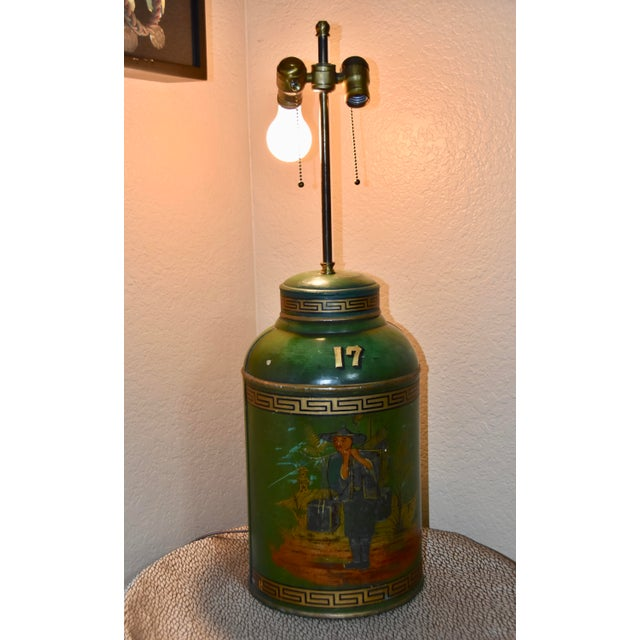 Green Chinoiserie English Tole Tea Canisters by Parnall & Sons Bristol Lamp For Sale - Image 8 of 13