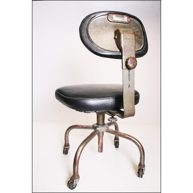 Metal Vintage Industrial Swivel Office Chair with Black Upholstery For Sale - Image 7 of 11
