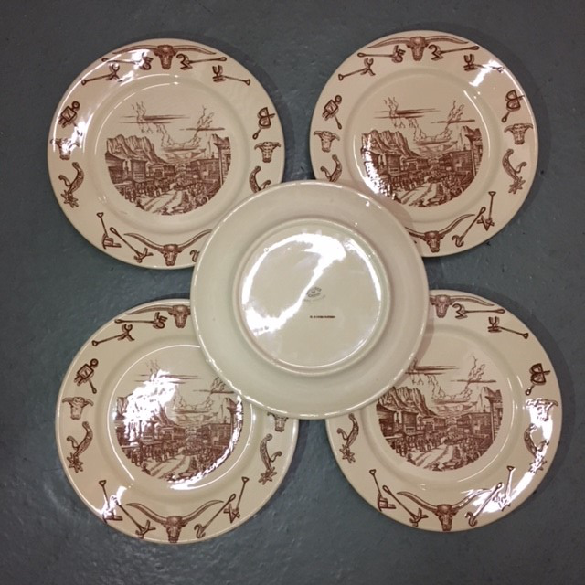 Vintage 1950s Wallace El Rancho China Dinner Plates - Set of 5 - Image 4 of : china dinner plate - Pezcame.Com