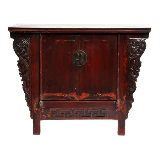 Chinese Butterfly Cabinet With Carved Wings and Original Lacquer For Sale