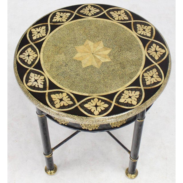 Mid 20th Century Round Faux Egg Shell Decorated Bronze Ormolu Decorated Round Gueridon Table For Sale - Image 5 of 9