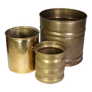 Mid-Century Hammered Brass Cachepots - Set of 3 For Sale
