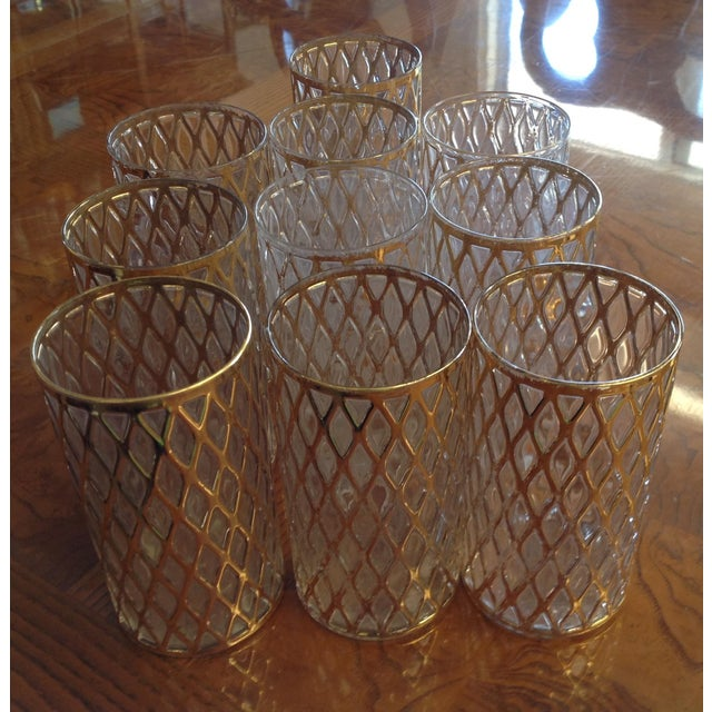 Mid-Century Gold Drinking Tumbler Glasses - S/10 - Image 3 of 7