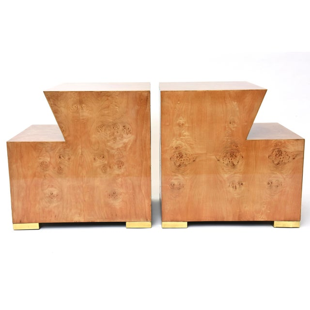 Edmund Spence Pair of Sir Edmund Spence Burled Maple Two-Drawer Night or End Tables For Sale - Image 4 of 10