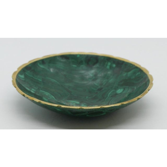 Mid-Century Modern Brass Trimmed Malachite Dish For Sale - Image 3 of 5