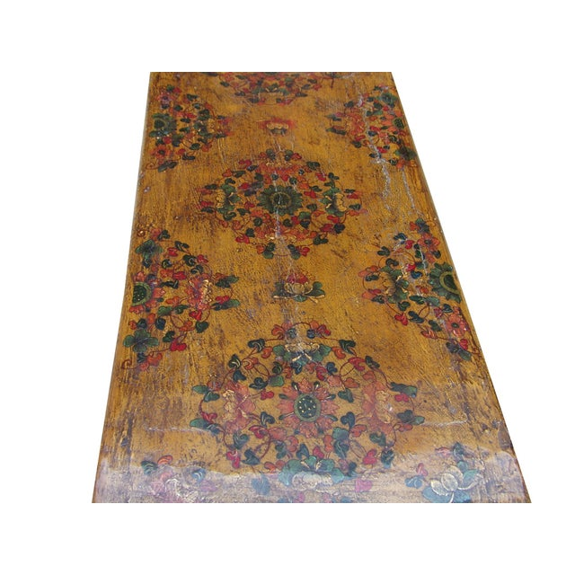 Yellow Tibetan Graphic Wood Scroll Coffee Table For Sale - Image 4 of 6