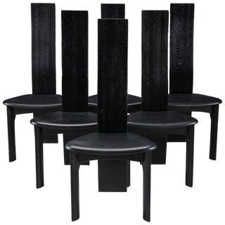 Set of Six Danish Ebonized Dining Chairs by Bob Og Dries Van Den Bergh For Sale