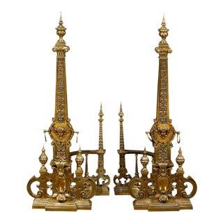Exquisite Pair of Monumental Andirons in Bronze