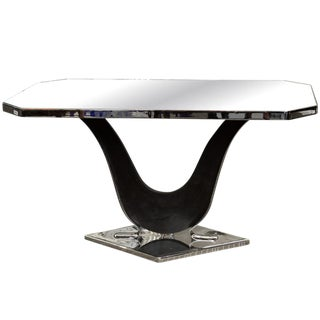 French Modernist Nickel Plated and Mirrored Side Table in Style of Jacques Adnet For Sale