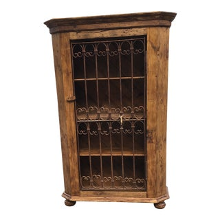 European Cabinet or Bookcase With Antique Wrought Iron Gate Door For Sale
