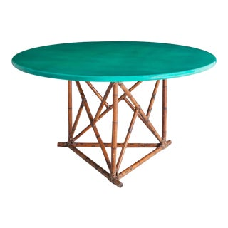 Mid-Century Lacquered Bamboo Dining Table For Sale