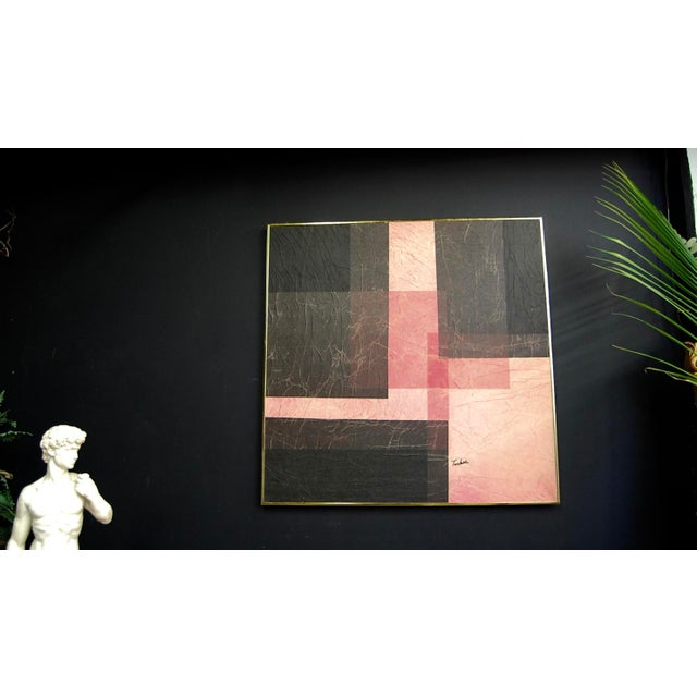 Modernist Pink & Black Mixed Media Painting - Image 2 of 8