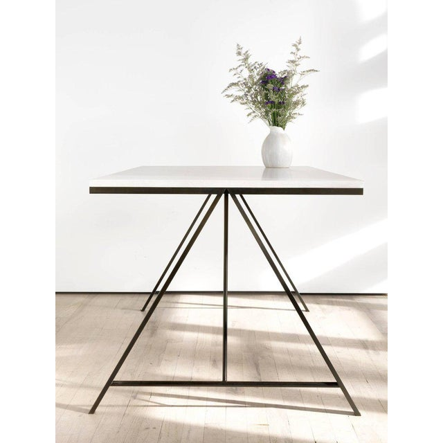 Contemporary Contemporary Blackened Steel and White Washed Maple A-Table For Sale - Image 3 of 6