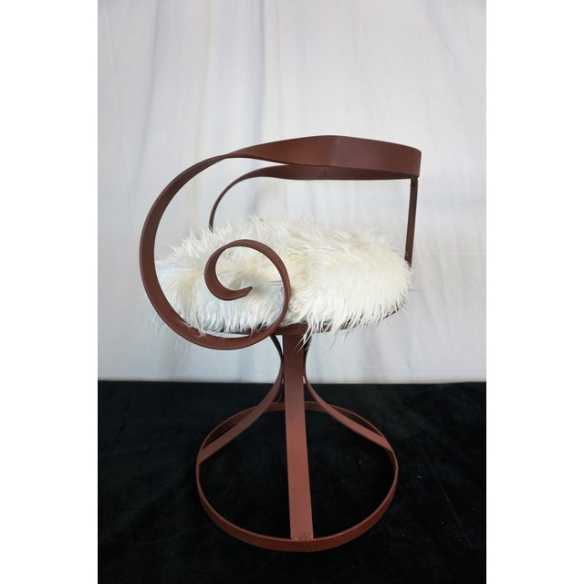 Brown Sultana Style Metal & Faux Fur Chairs - A Pair For Sale - Image 8 of 10