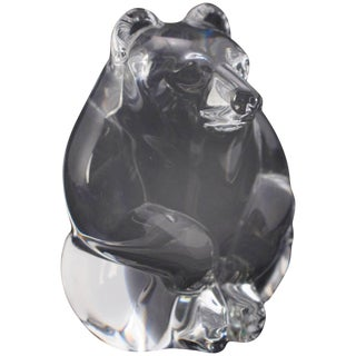 Miniature Figural Steuben Crystal Bear Sculpture, Signed, 20th Century For Sale