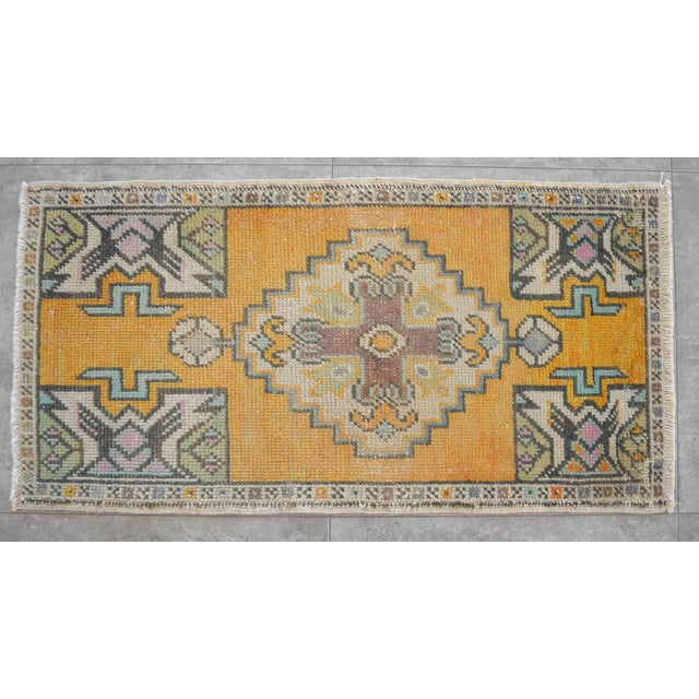 Boho Chic Distressed Rug Low Pile Hand Knotted Yastik Rug Faded Mat- 18'' X 36'' For Sale - Image 3 of 4