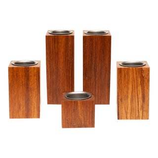Mid-Century Modern Wood Candle Holders - Set of 5 For Sale