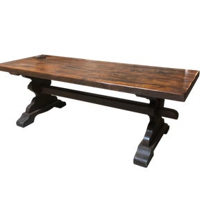 19th Century French Provincial Oak Trestle Table For Sale
